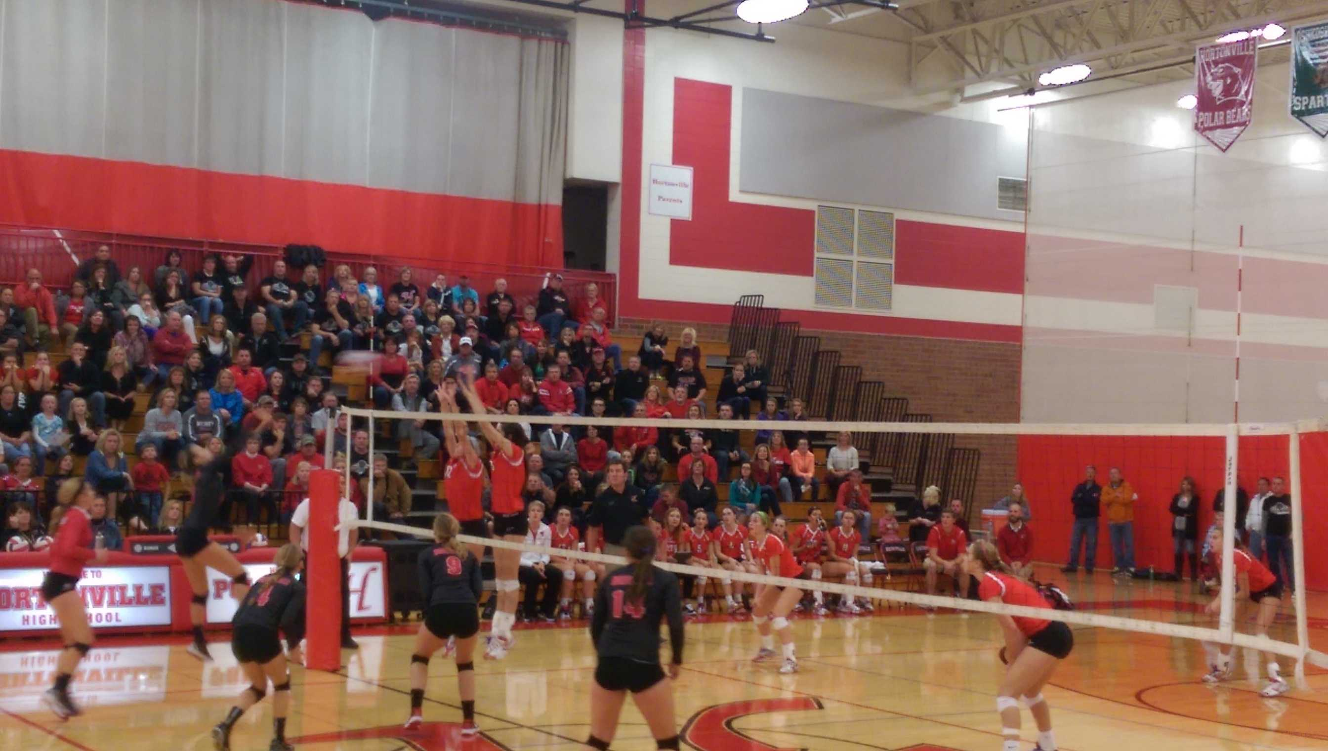 satellite rowdies support volleyball in hortonville neenah girls jumping up to spike the ball from hortonville