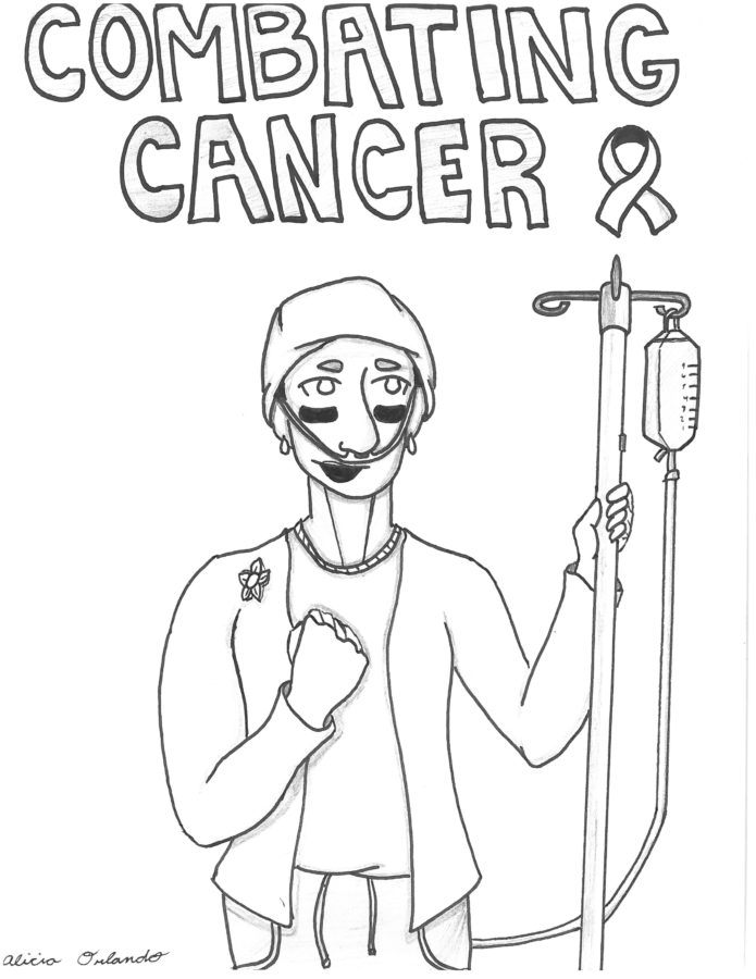 This drawing is dedicated to Misook Orlando for her tenacious battle with colon cancer.  It is drawn in tribute by her daughter Alicia Orlando, senior at NHS.