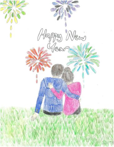 Drawing:  New Year's Embrace