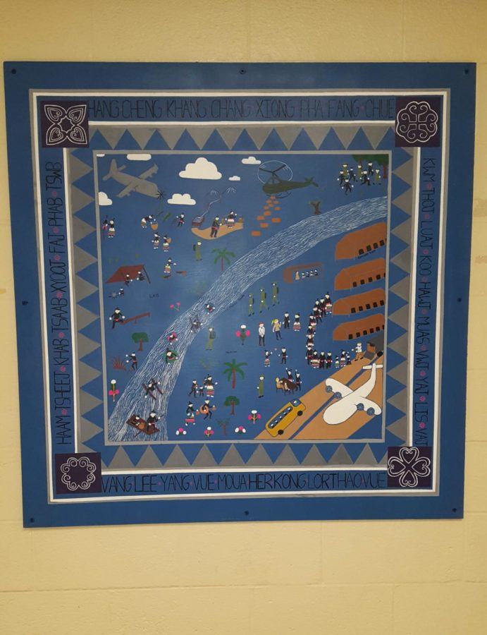 The+Hmong+tapestry+%28project+started+by+Kalia+Vang%29+displayed+in+the+Conant+wing.