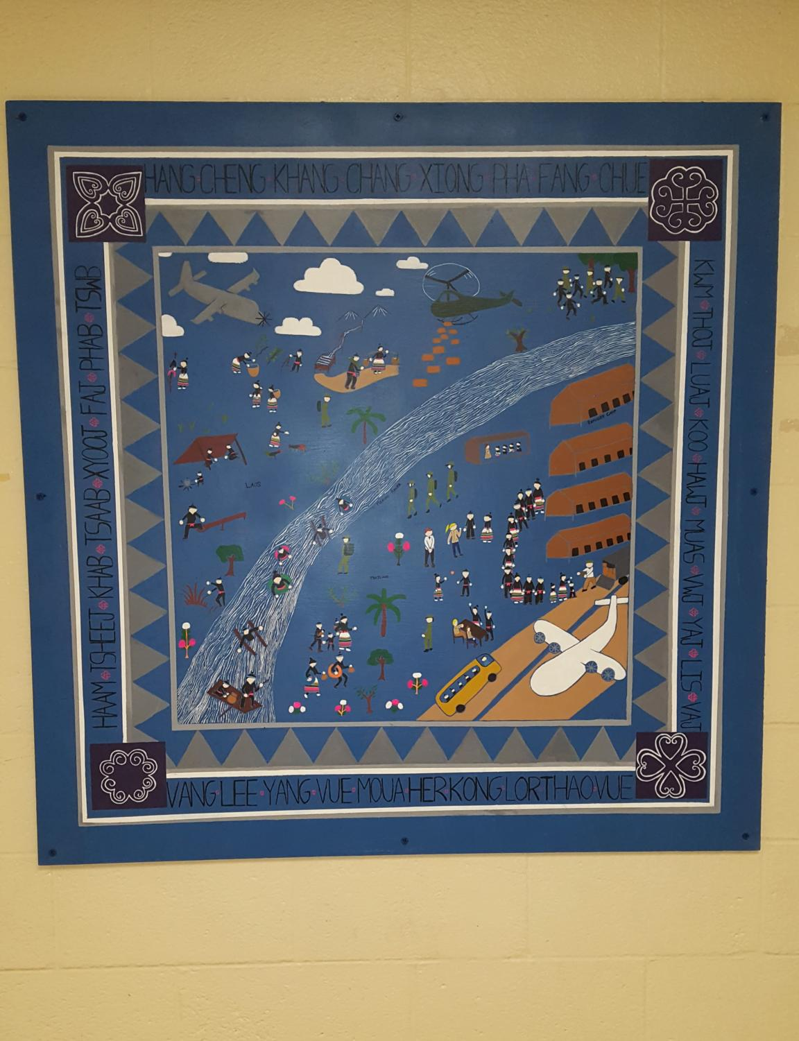 The Hmong tapestry (project started by Kalia Vang) displayed in the Conant wing.