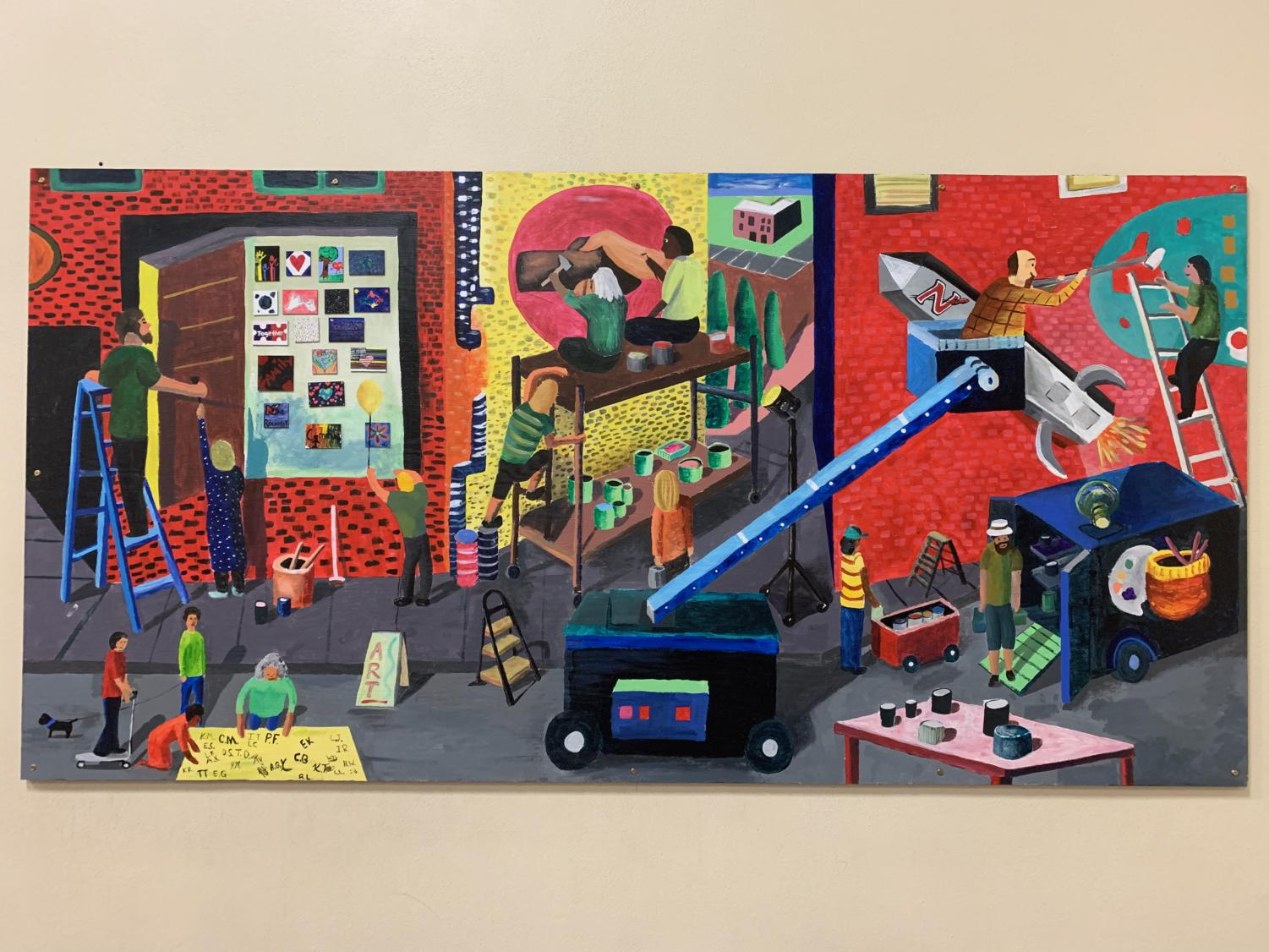 Dorschner, art teacher, says this painting shows how artists can transform communities with beautiful murals. In the painting, it portrays a wide variety of perspectives that take viewer's eyes through several murals in progress, being done by devoted artists.