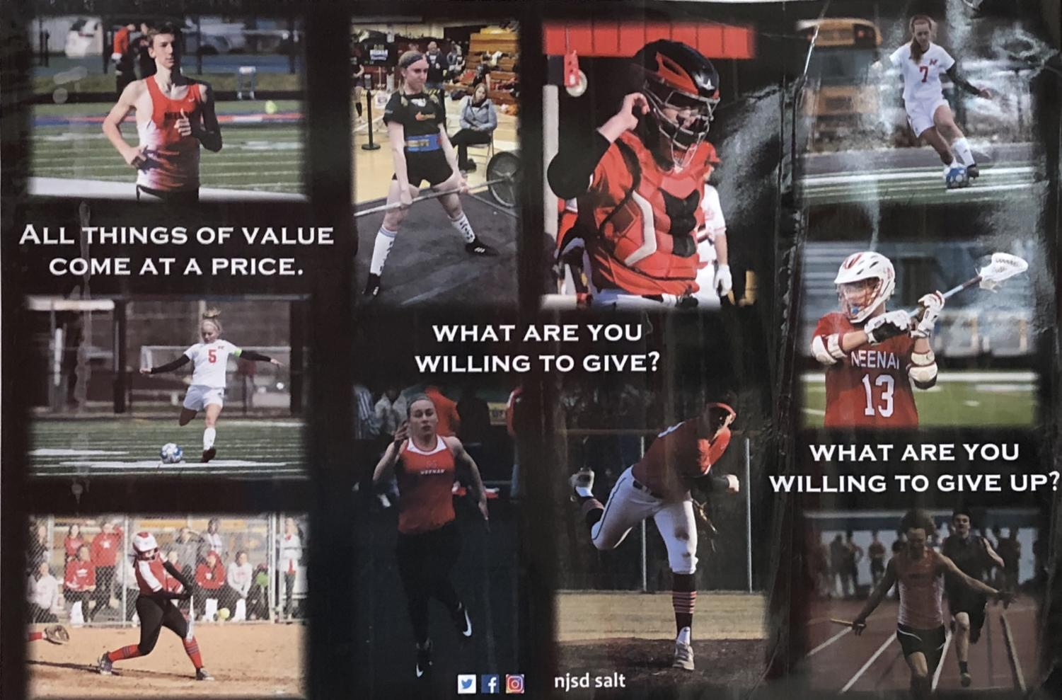 A poster on the walls of NHS showcases the different spring sports offered.