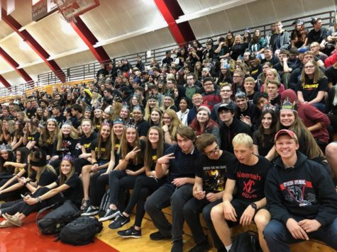 Seniors show spirit at pep assembly.