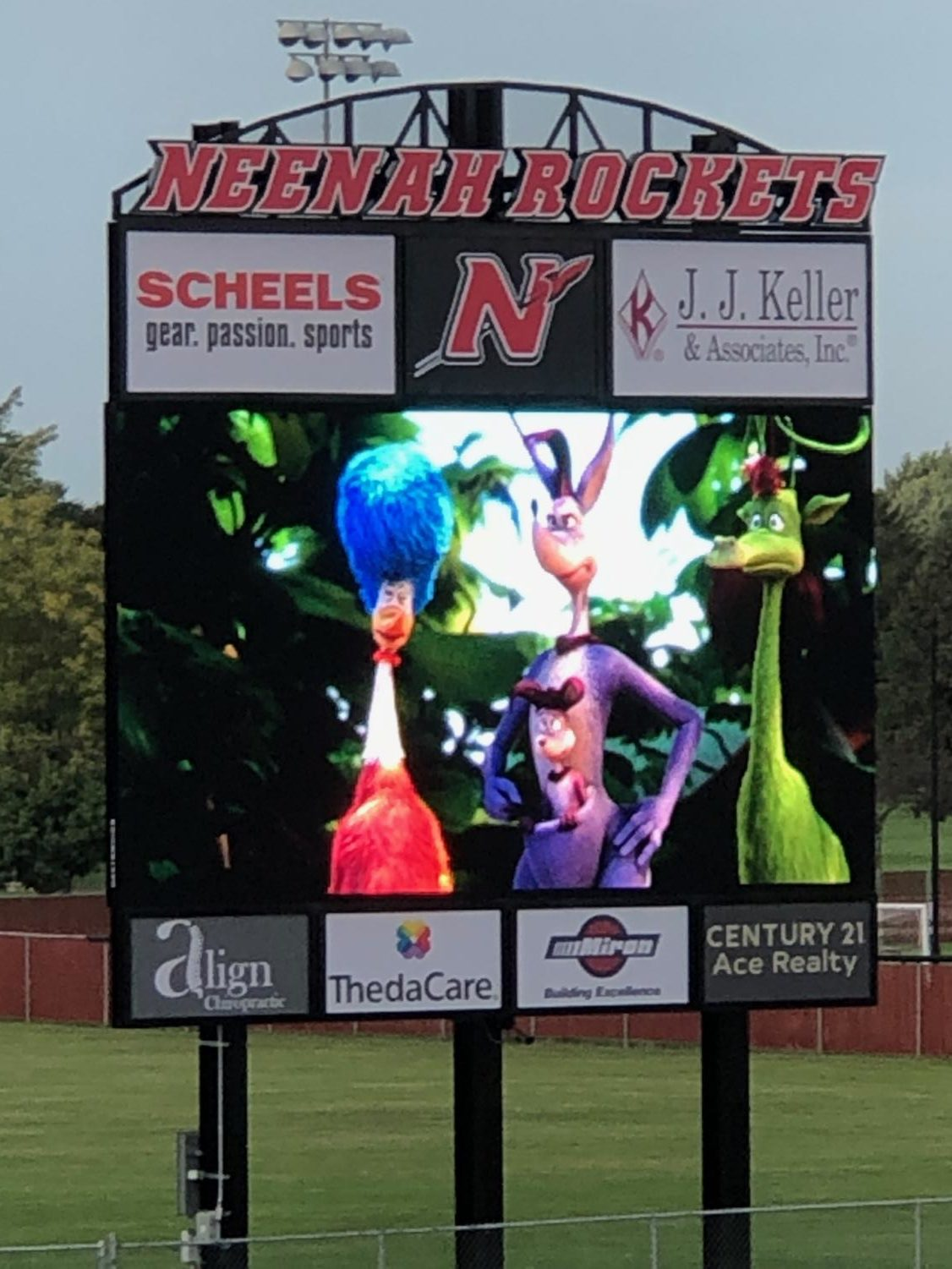 Horton Hears a Who played on the jumbotron during homecoming week.  Photo courtesy of Jon Joch.