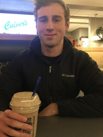 NHS student Seth Geiger enjoys a  milkshake at Culver