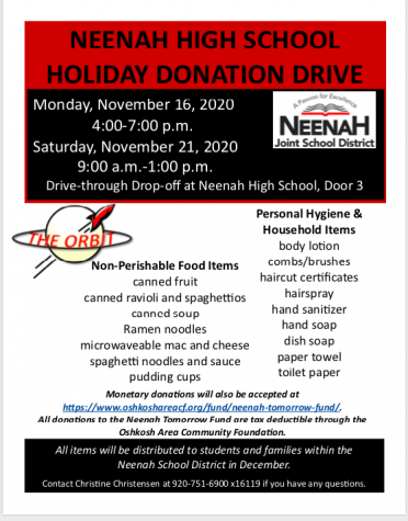 Orbit Holiday Drive To Collect Items Nov. 16, 21