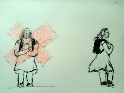 Sketch on the left shows a women looking said covered by a red cross. Sketch on the right shows the same women in the same outfit walking also happily.
