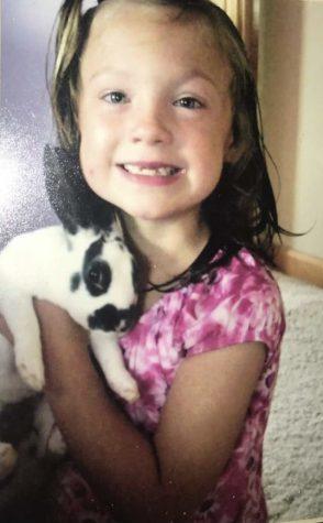 Jaiden, 6, with her bunny, Pebbles